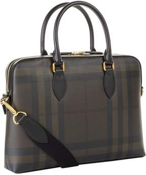 Burberry The Barrow Checked Saffiano Briefcase