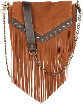 Tan Fringe Leather Shoulder Bag