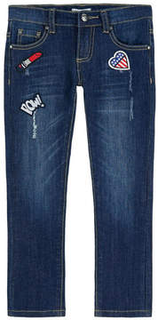 3 Pommes Girl slim fit jeans with fancy patches