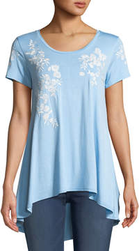 Joan Vass Embroidered Flutter-Sleeve High-Low Tee