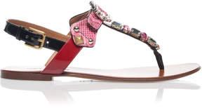 Dolce & Gabbana Embellished Snake and Leather Sandals