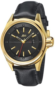 JBW Rook Gold-tone Case Black Leather Diamond Dial Men's Watch
