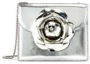 Oscar de la Renta Silver Leather Mini TRO Bag