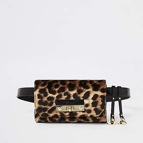 River Island Brown leopard print lock front belted bum bag
