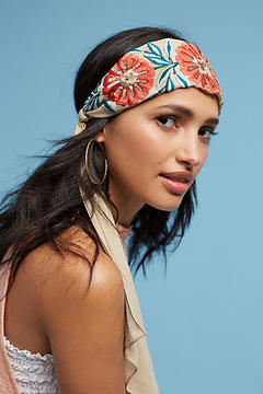 Anthropologie Embroidered Florals Headband
