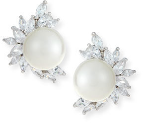 Fallon Monarch Pearly Starburst Crystal Earrings