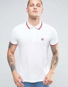 Pretty Green Polo Shirt With Single Tipping In Slim Fit White