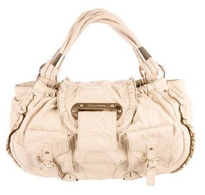 Dolce & Gabbana Wrinkled Leather Handle Bag - NEUTRALS - STYLE