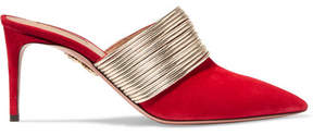 Aquazzura Rendez Vous Leather And Suede Mules - Red