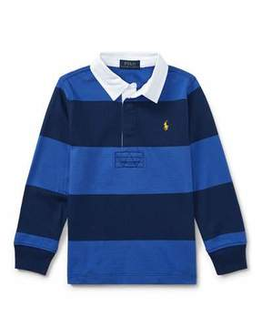 Ralph Lauren Jersey Rugby Striped Polo, Blue, Size 2-4