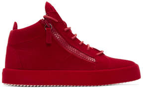 Giuseppe Zanotti Red Flocked May London High-Top Sneakers