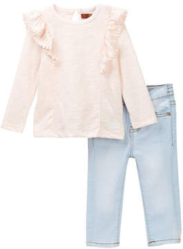 7 For All Mankind Ruffle Tee & Skinny Jeans Set (Baby Girls)
