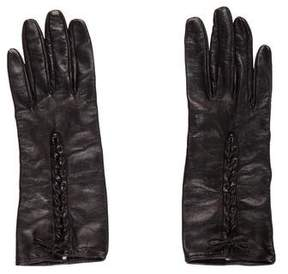 Neiman Marcus Leather Braided Gloves