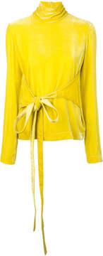 Cédric Charlier velvet tie-fastening blouse