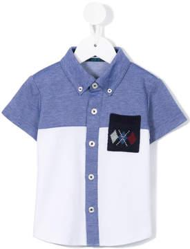 Familiar knit pocket button down shirt