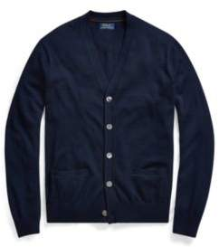 Ralph Lauren Suede-Trim Merino Cardigan Hunter Navy Xs