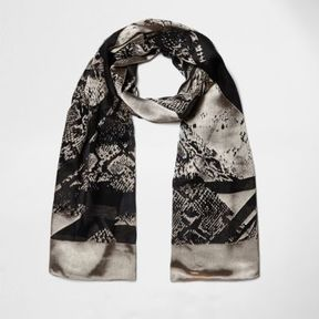 River Island Womens Black spliced animal print scarf