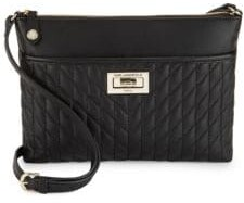 Karl Lagerfeld Diamond Stitched Leather Crossbody Bag