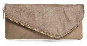 Sole Society Tammi Genuine Calf Hair & Faux Leather Foldover Clutch