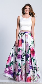 Dave and Johnny Vibrant Floral Printed Criss Cross Back Prom Dress