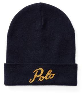 Polo Ralph Lauren Merino Wool Beanie Navy/Gold One Size
