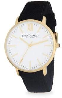 Bruno Magli Stainless Steel and Gold Ion Plated Slim Leather-Strap Watch