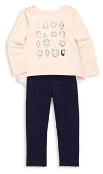 Petit Lem Little Girl's Two-Piece Diamond Hi-Lo Top Set