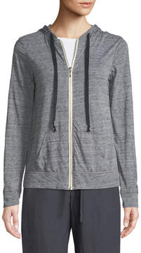 Allen Allen Heathered Zip-Front Lightweight Hoodie
