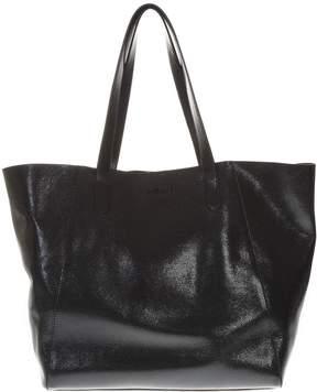 Hogan Black Shiny Leather Shopper Bag With Embossed Logo
