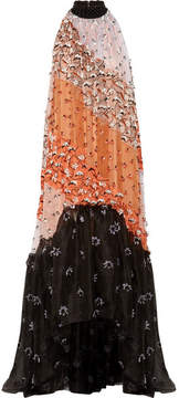 Roksanda Olbia Appliquéd Asymmetric Silk-organza Gown - Black