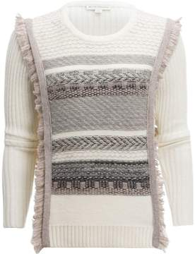 White + Warren Tapestry Fringe Cable Crewneck Sweater