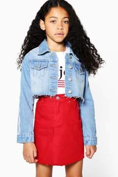 boohoo Girls Tape Cropped Denim Jacket