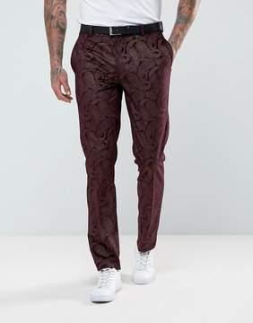 Asos Skinny Tuxedo Suit Pants In Burgundy Velvet Paisley