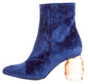 Dries Van Noten Velvet Pointed-Toe Ankle Boots w/ Tags