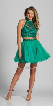 Dave and Johnny Two Piece Sparkling Halter Open Back Homecoming Dress