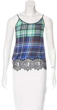 Clover Canyon Plaid Lace-Trimmed Top w/ Tags