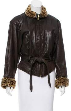 Andrew Marc Faux Fur-Trimmed Leather Jacket