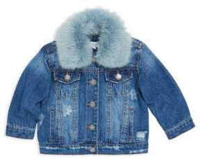 Splendid Baby Girl's Faux Fur Collared Denim Jacket