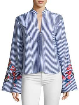 Tanya Taylor Klara Embroidered Menswear Stripe Top, Blue/White