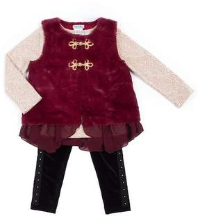 Nicole Miller Lace Print Top, Faux Fur Vest & Velvet Legging Set (Toddler Girls)