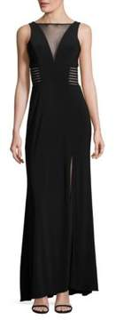 Betsy & Adam Crepe Illusion Gown