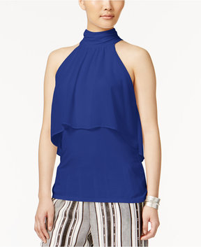 Cable & Gauge Cupio Chiffon-Overlay Top