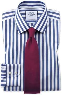 Charles Tyrwhitt Extra Slim Fit Non-Iron Blue Wide Bengal Stripe Cotton Dress Shirt Single Cuff Size 15/34