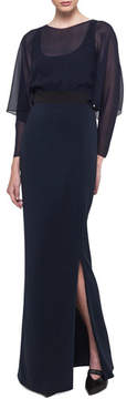 Akris Long-Sleeve Silk Georgette Blouson Gown