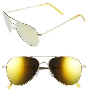 Polaroid Women's 56Mm Polarized Aviator Sunglasses - Gold/ Gold Mirror/ Polarized