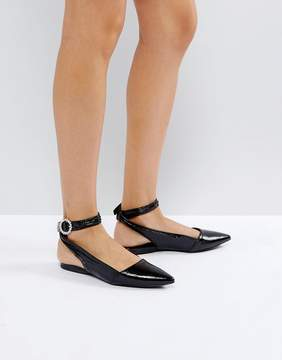 New Look Patent Bling Buckle Ankle Strap Flat Shoe