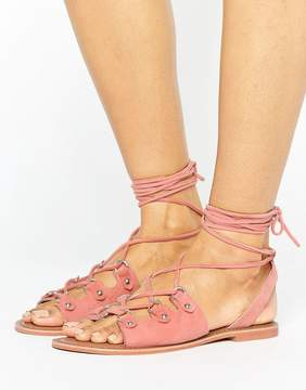 Glamorous Tie Up Coral Suede Flat Sandals