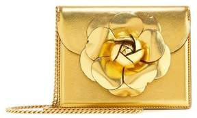 Oscar de la Renta Gold Saffiano Mini TRO Bag