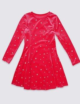 Marks and Spencer All Over Star Print Velvet Dress (3-14 Years)