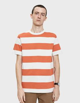 Norse Projects Johannes Wide Stripe Tee in Burned Red